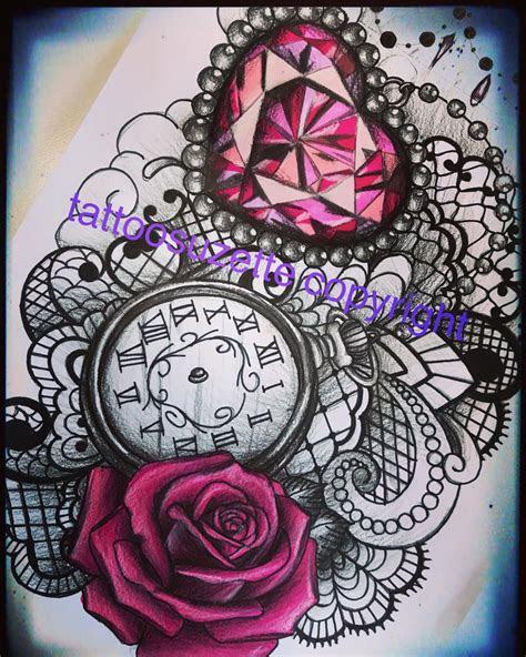 diamond lace roses tattoo design tattoosuzette