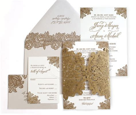 Laser Cut Wedding Invitations   Letterpress Invitations