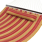Best Choice Products Quilted Double Hammock with Detachable Pillow, Burgundy/Tan