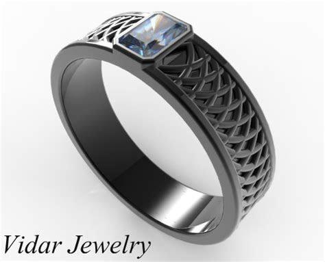 mens radiant cut blue sapphire wedding band vidar