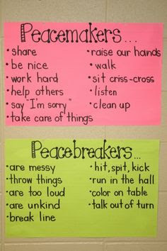 "Peacemaker or Peacebreaker~  I can hear myself asking a student, ""Which one do you want to be, a peaceMaker or a peaceBreaker?""  Love this idea!"
