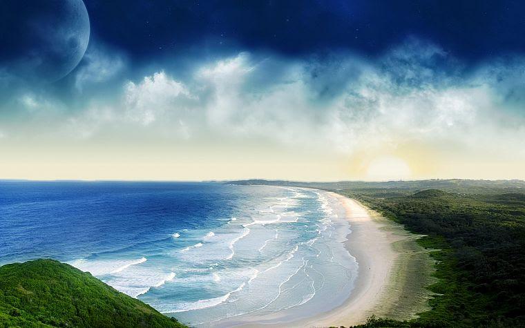 вода, абстракции, синий, океан, облака, природа, планеты, научная фантастика, небо, море, пляжи - обои на рабочий стол