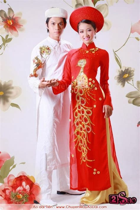 Ao dai, red traditional vietnamese wedding dress   Wedding