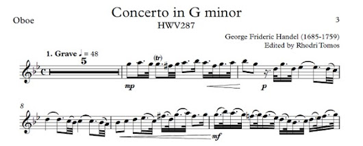 Handel HWV287 Concerto in G minor - play along accompaniment and solo sheet music for oboe, trumpet