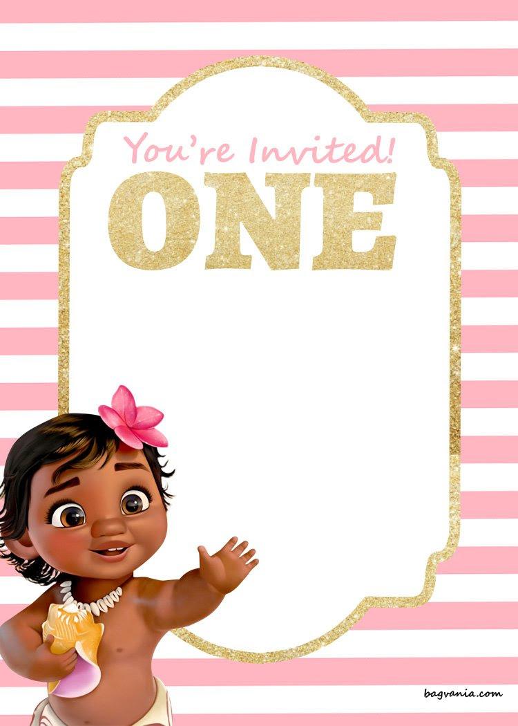 FREE Printable First Birthday Invitation Moana template