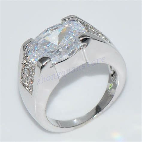Fat Silver Zircon Engagement Band Ring Women's 10Kt White
