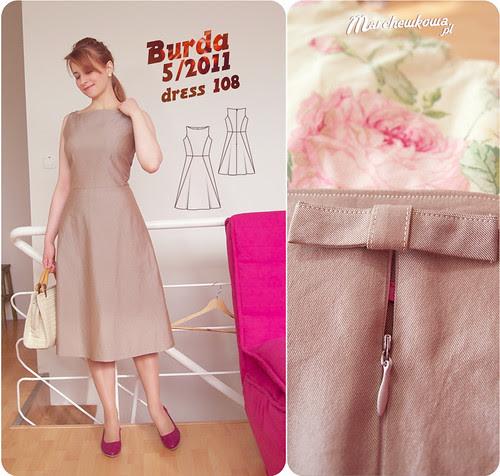 szafiarka, szycie, krawiectwo, sukienka, Burda 5/2011, model 108, lata 50/60, popelina, bawełna, buty Tchibo, kolczyki KappAhl