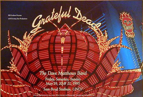 BGP116 Grateful Dead 5/19, 5/20 & 5/21/95 (with the Dave Matthews Band) @ Sam Boyd Stadium (Silver Bowl) - University of Nevada, Las Vegas (UNLV) - Photo by Jonathan Hess, art direction by Arlene Owseichik [from www.deadlists.com]
