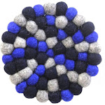 Hand Crafted Felt Ball Trivets from Nepal: Round, Dark Blues - Global Groove (T)
