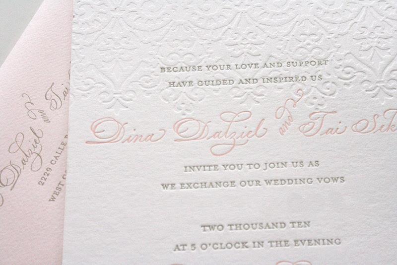 pattern resembles vintage lace pink gray wedding invitation letterpress