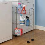 Household Essentials 7011 3-Tier Storage Cart-Satin Silver
