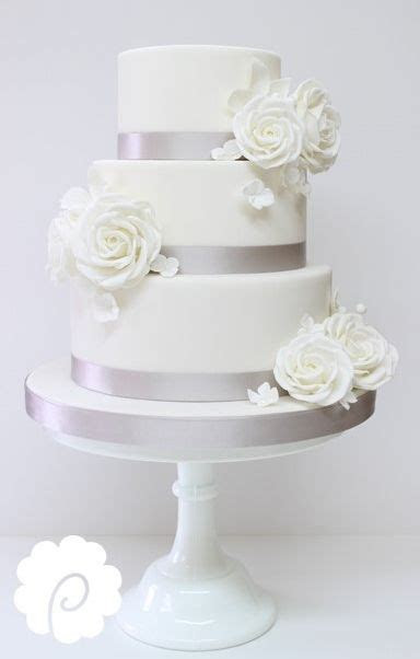 Pure white and silver elegant wedding cake #white roses #