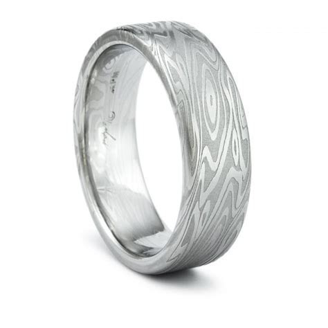 Damascus Ring Unique Mens Wedding Band Twisted Wood Grain