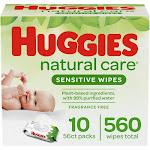 Huggies Natural Care Sensitive Baby Wipes, Unscented Flip-Top Packs - 10pk/560ct