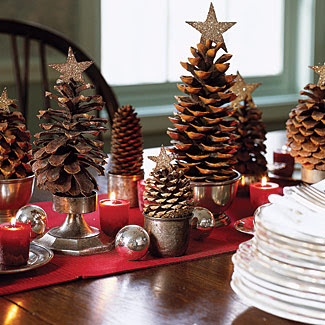 Placed in silver bowls, cups, and candlesticks, pinecones become a tabletop forest. Crown each one with a glitter-covered cardboard star.