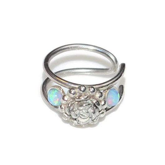 Tragus Cuff / 2mm Opal Flower silver faux piercing ring, fake hoop ear - IROOCCA