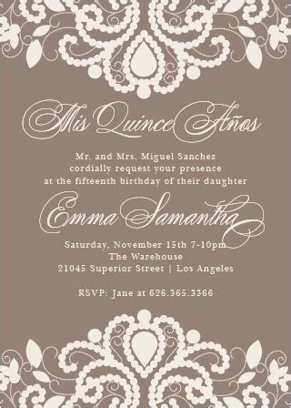 Quinceañera Invitations   Match Your Color & Style Free