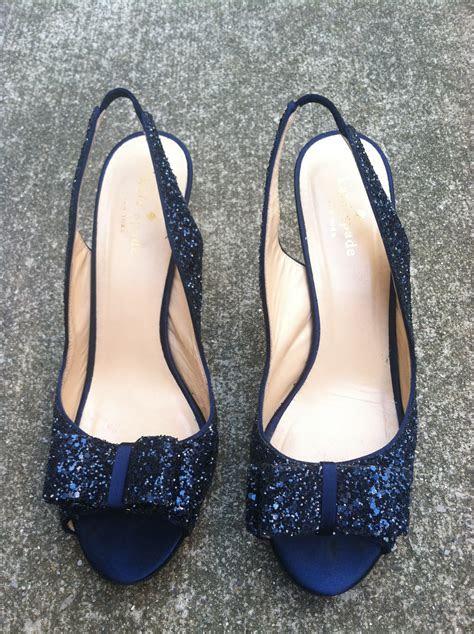 kate spade navy glitter charm heels  wed