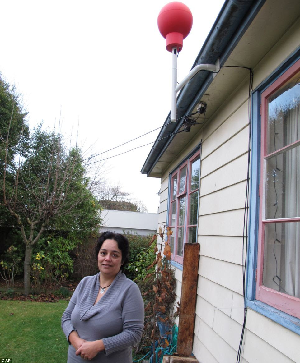 Christchurch resident Tania Gilchrist was one of the 50 testers who signed up for Project Loon without knowing what it was. A red Google Internet receiver was installed on her roof so she could receive the signal