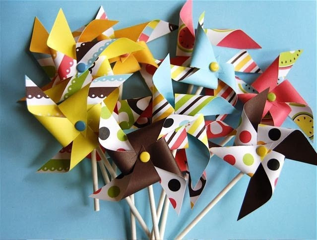 Backyard Collection Pinwheels  for Cupcakes or cake decorations (12)