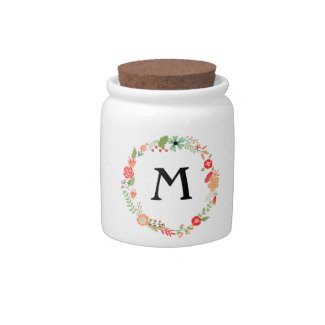 Folksy Floral with Monogram Candy Dish