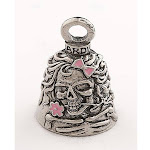 Lady Skull with Pink Flowers Motorcycle Guardian Bell