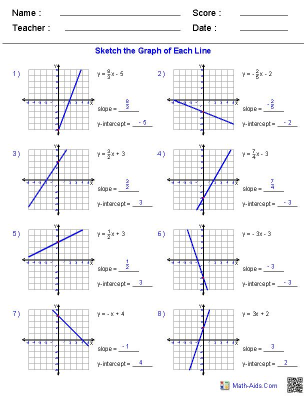 Pre Algebra Worksheets Linear Functions Worksheets