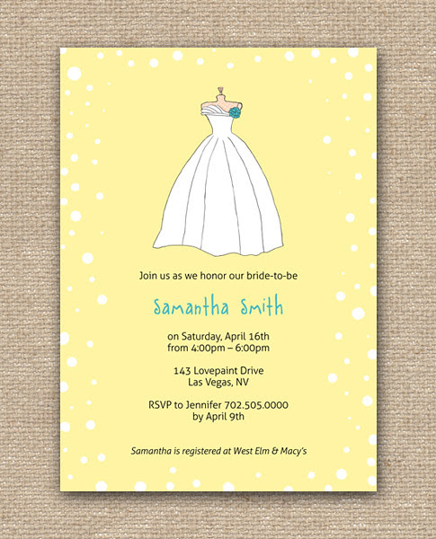 Wedding Dress Bridal Shower DIY Design Invitation - Printables in Yellow, Shop at Etsy, Affordable Bridal Shower Party Printable Invitation