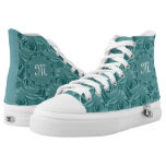 Personalize Girly Aqua Rose Floral Abstract Printed Shoes