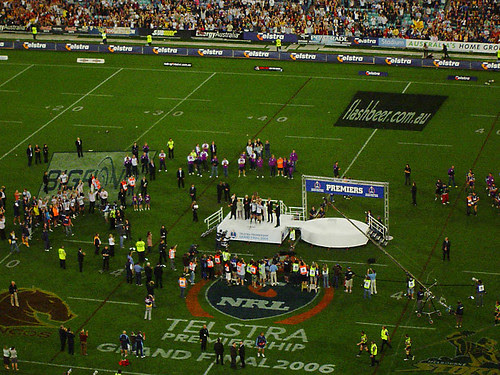 Lockyer and Webcke lift the trophy