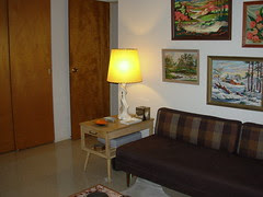 Guest Bedroom - Mersman End Table & Hollywood Regency Style Table Lamp
