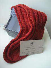 Rosa's socks in rich red koigu!