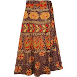 TLB Ethnic Long Wrap Skirt with Folk Patterns