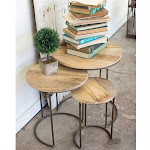 3 Nesting Tables with Mango Wood Top
