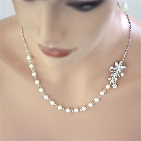 Pearl Bridal Necklace Vintage Wedding Rhinestone Flower