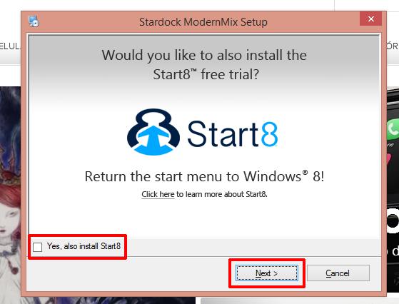 ModernMix oferecerá programa para adicionar menu Iniciar de volta ao Windows 8, desmarque se não quiser (Foto: Reprodução/Elson de Souza)
