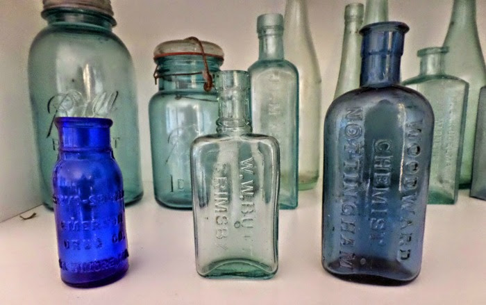 antique blue bottles