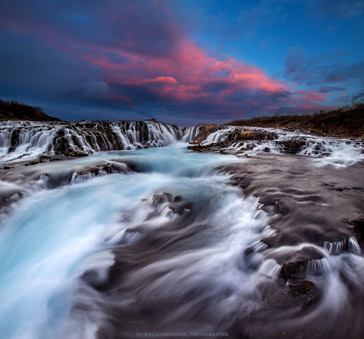 Brúarárfoss Winter Sunset