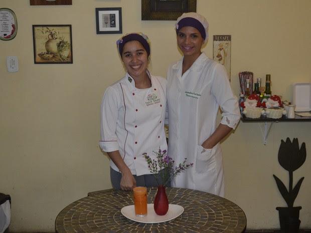 Chef Aline Lobo e a nutricionista Amandha Furtado (Foto: John Pacheco/G1)