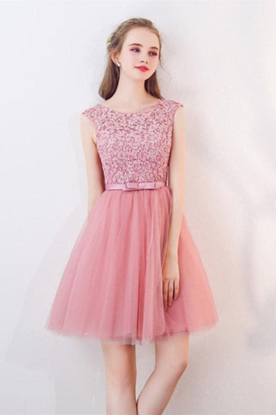 A-Line Cap Sleeves Appliques Bowknot Crystal Sashes Homecoming Dress PG061