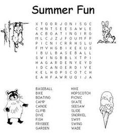 Summer Word Search Kids Printable Activities: Summer Themed Word ...
