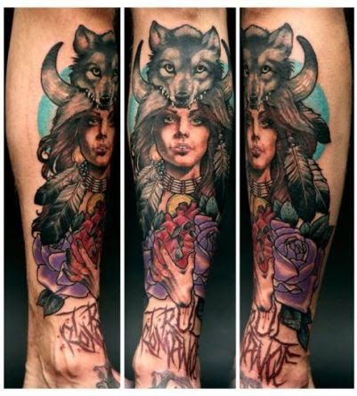 Girl And Wolf Tattoo Design Of Tattoosdesign Of Tattoos