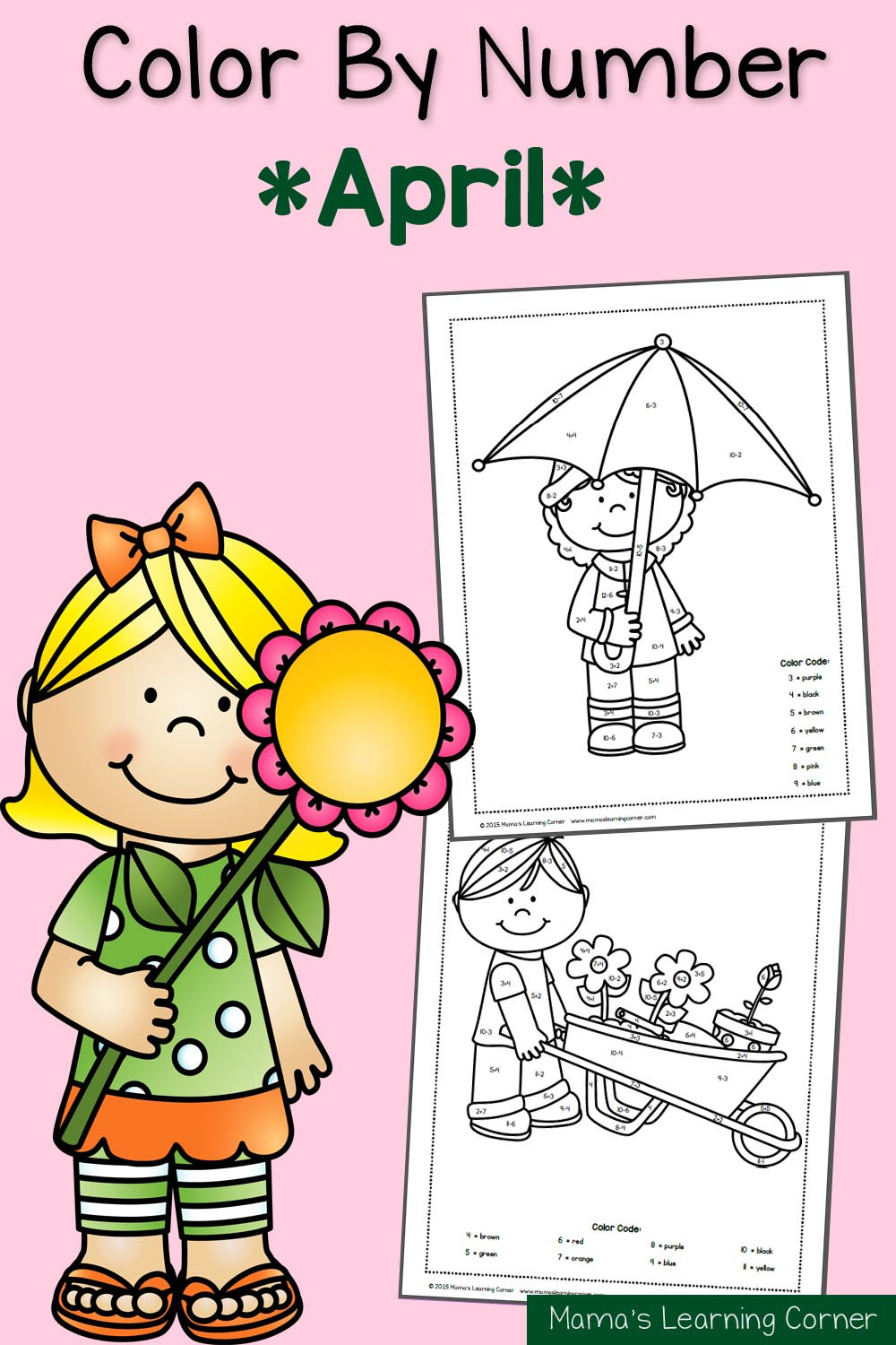 Color By Number Worksheets: Spring! - Mamas Learning Corner
