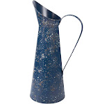 Decorative Rustic Watering Can - Galvanized Navy Blue Finished Jug Vase Pitcher with Handle for Home Office Garden Decor, 8 x 15.8 x 6 Inches