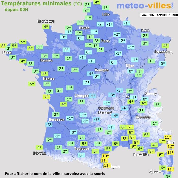 """Résultat de recherche d'images pour """"carte du froid en france le 13 avril 2019"""""""