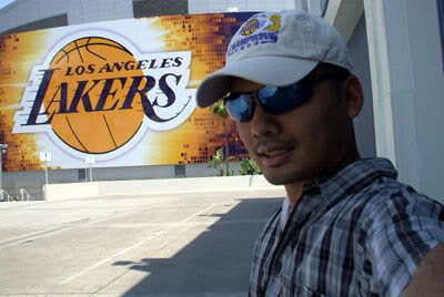 A photo of me at STAPLES Center.  Notice my 2009 NBA Champions baseball cap.