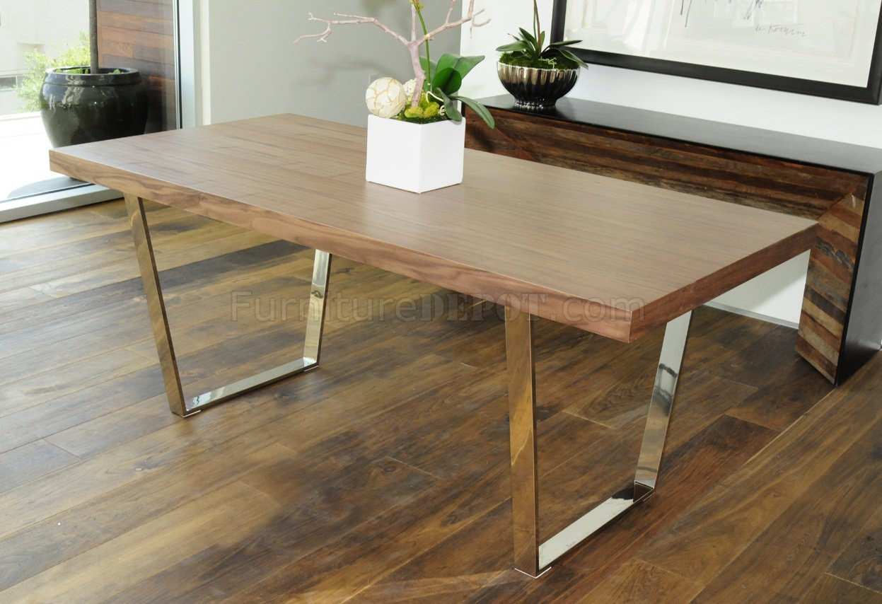 Walnut, Espresso or White Modern Dining Table w\/Metal Legs