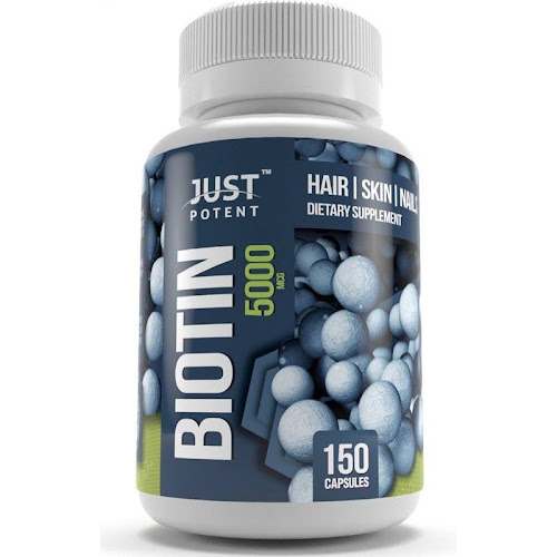 Biotin Supplement by Just Potent :: 5, 000 mcg :: Hair Growth Support for Longer