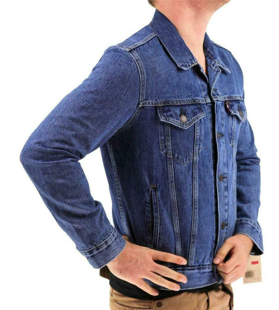 new levi's men's premium button up denim jeans jacket