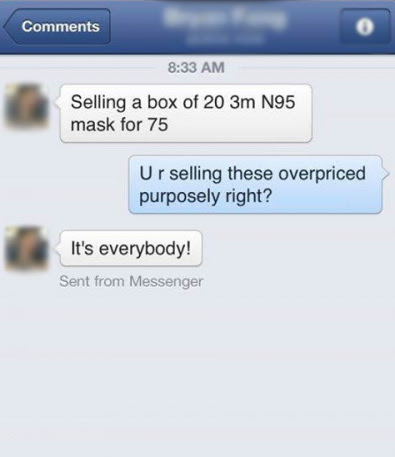 people selling jacked up price for mask